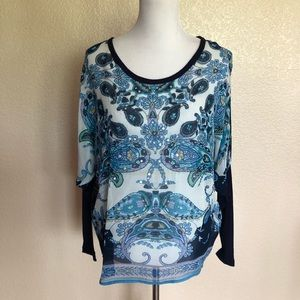 Bila Blue Paisley Plaid Embellished Top Size PM